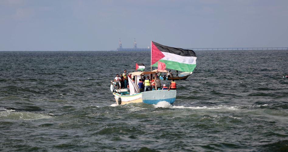 راهپیمایی دریایی در غزه
